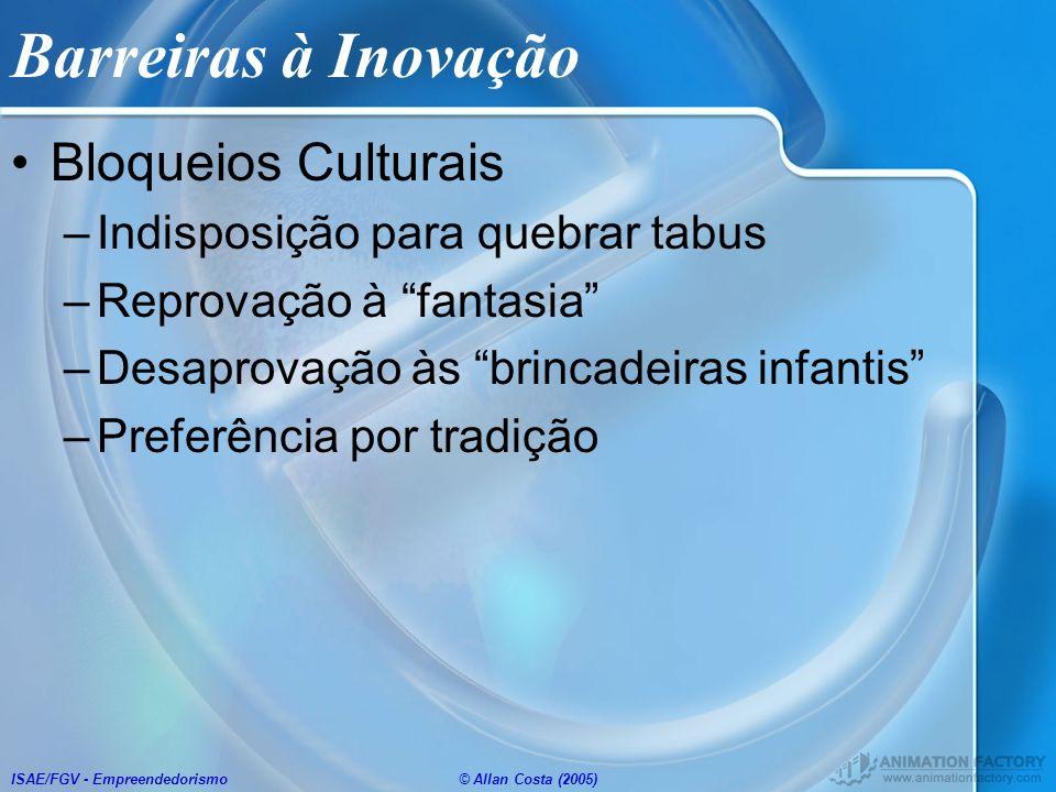 Barreiras à Inovação Bloqueios Culturais