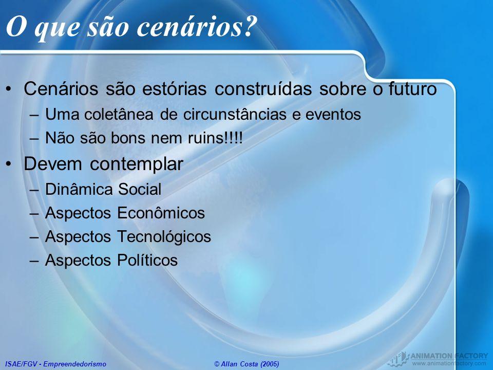 O que são cenários Cenários são estórias construídas sobre o futuro
