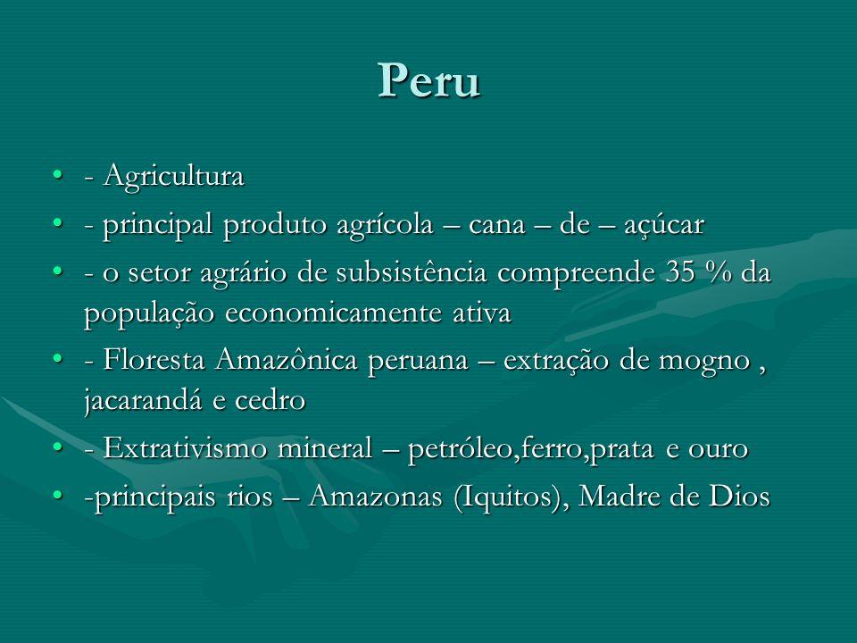 Peru - Agricultura - principal produto agrícola – cana – de – açúcar