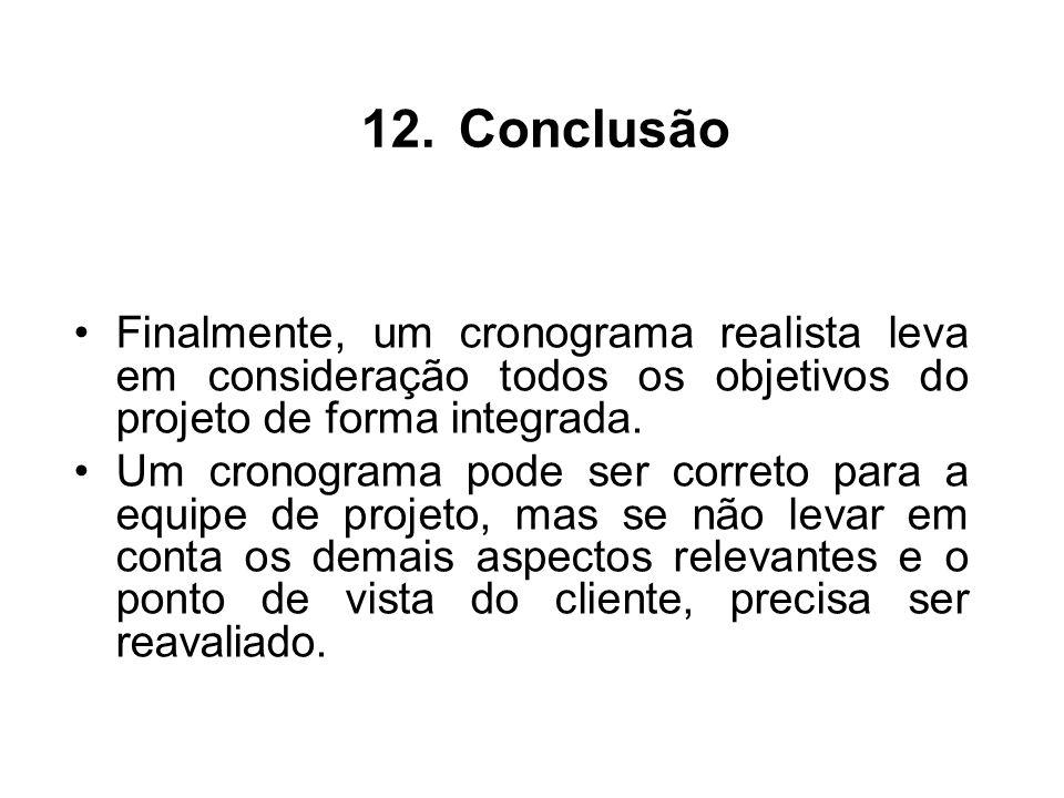 Conclusão Finalmente, um cronograma realista leva em consideração todos os objetivos do projeto de forma integrada.