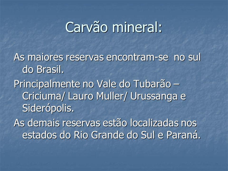 Carvão mineral: As maiores reservas encontram-se no sul do Brasil.