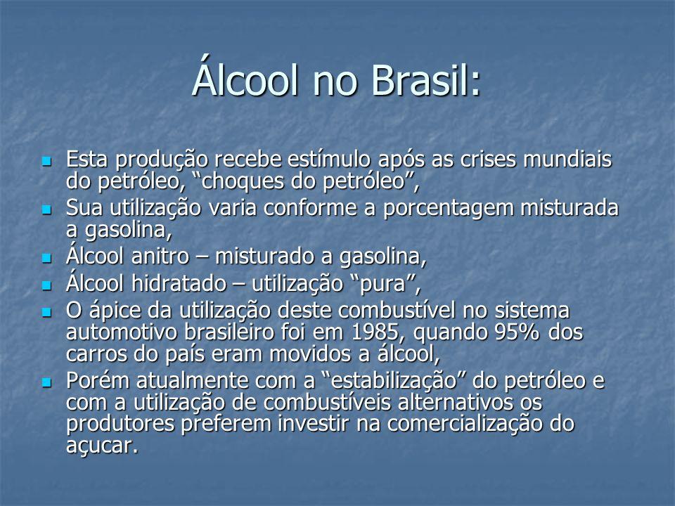 Álcool no Brasil:Esta produção recebe estímulo após as crises mundiais do petróleo, choques do petróleo ,