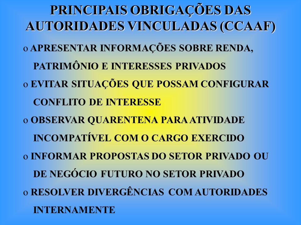 PRINCIPAIS OBRIGAÇÕES DAS AUTORIDADES VINCULADAS (CCAAF)