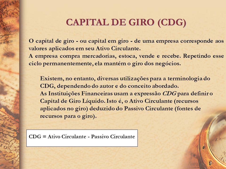 CAPITAL DE GIRO (CDG)O capital de giro - ou capital em giro - de uma empresa corresponde aos valores aplicados em seu Ativo Circulante.
