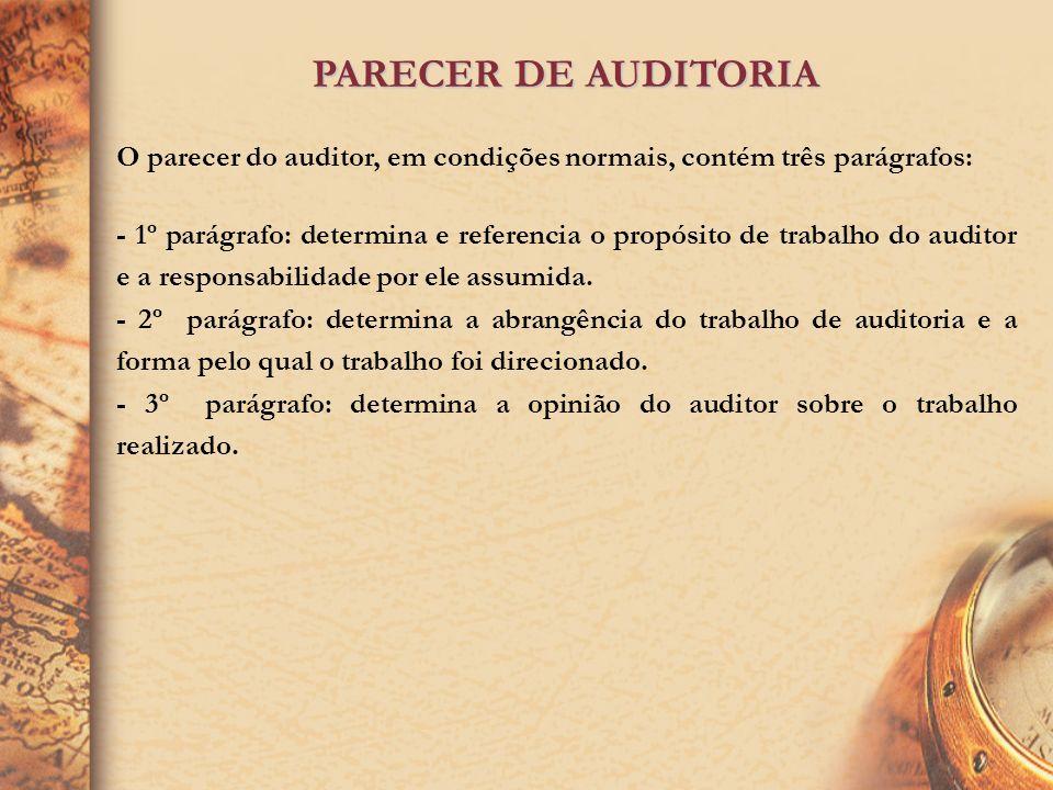 PARECER DE AUDITORIA O parecer do auditor, em condições normais, contém três parágrafos: