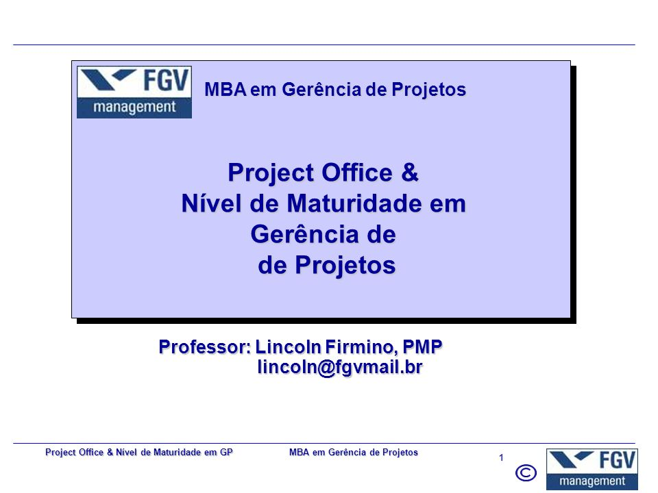 Professor: Lincoln Firmino, PMP lincoln@fgvmail.br