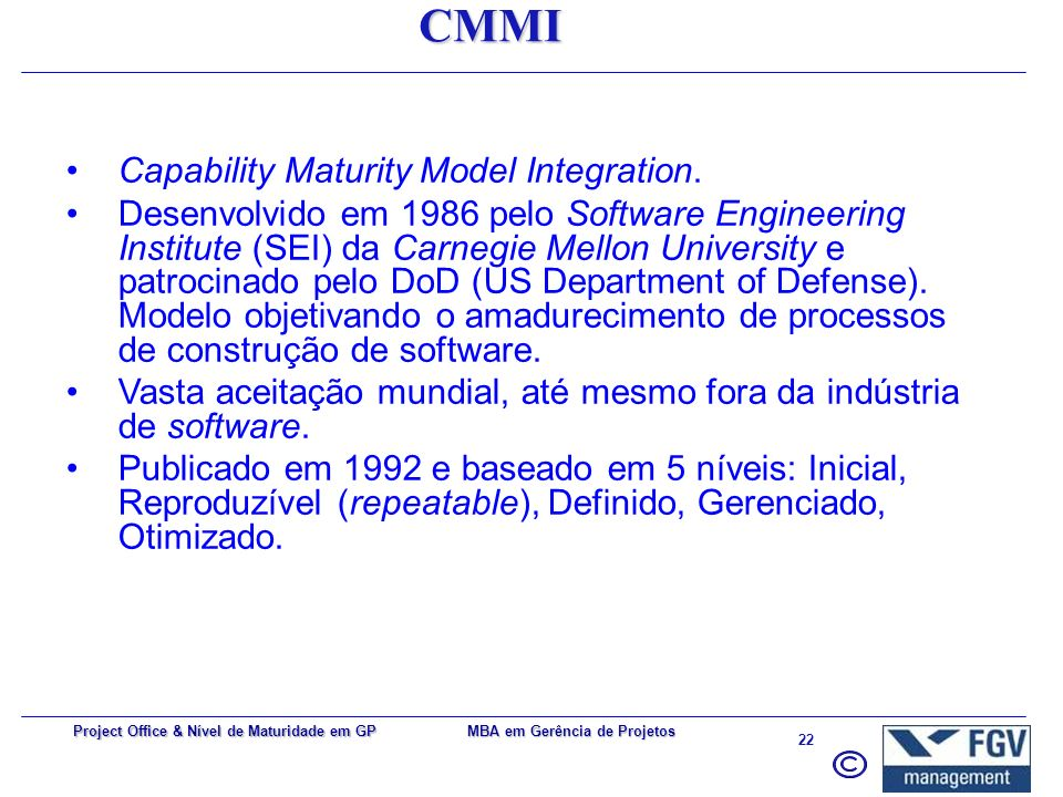 CMMI Capability Maturity Model Integration.