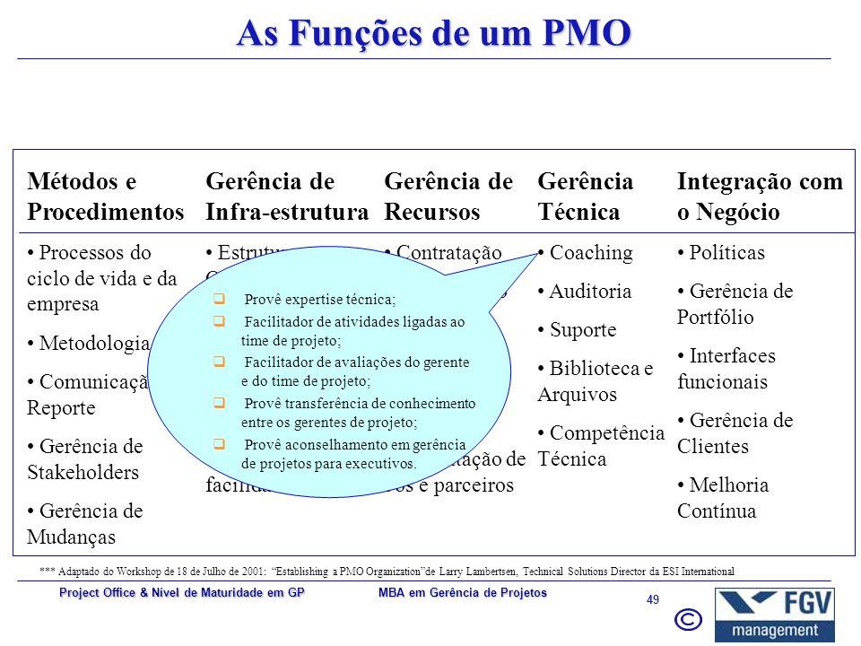 As Funções de um PMO Métodos e Procedimentos