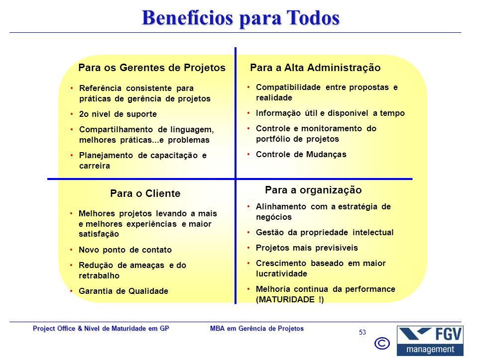 Para os Gerentes de Projetos Para a Alta Administração
