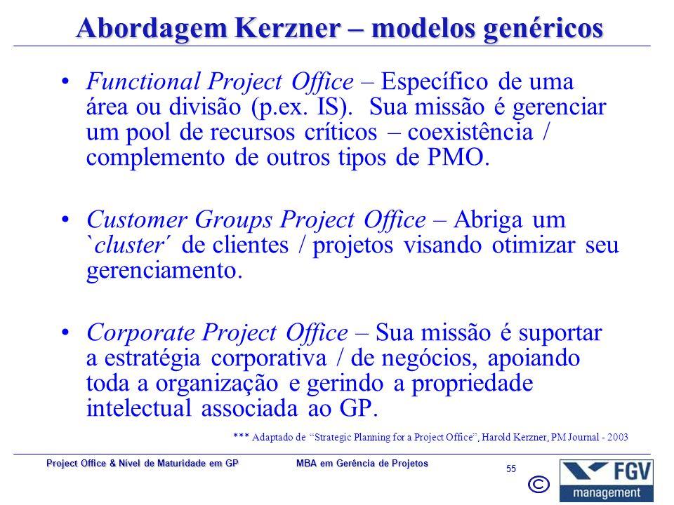 Abordagem Kerzner – modelos genéricos