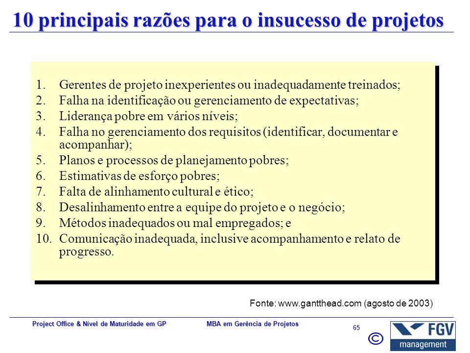 10 principais razões para o insucesso de projetos