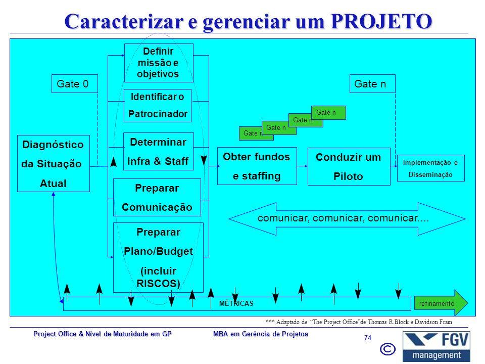 Caracterizar e gerenciar um PROJETO Definir missão e objetivos