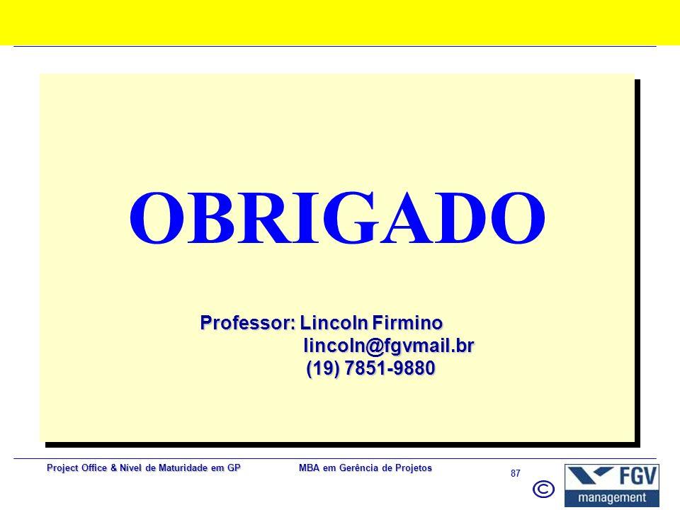 Professor: Lincoln Firmino lincoln@fgvmail.br (19) 7851-9880