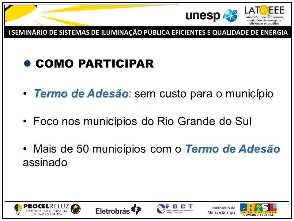 COMO PARTICIPAR Termo de Adesão: sem custo para o município. Foco nos municípios do Rio Grande do Sul.