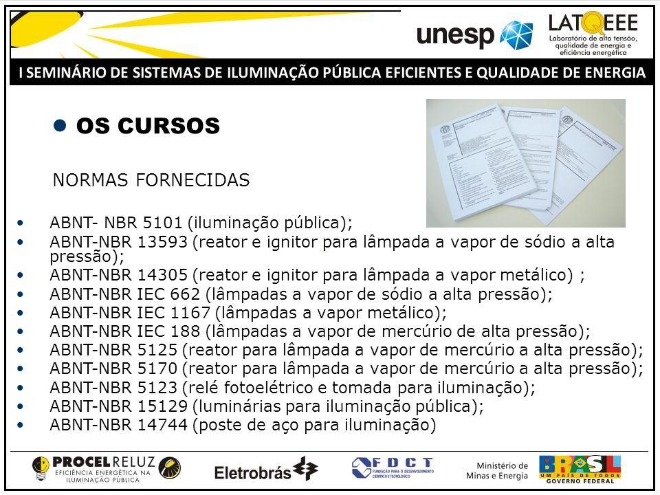 OS CURSOS NORMAS FORNECIDAS ABNT- NBR 5101 (iluminação pública);