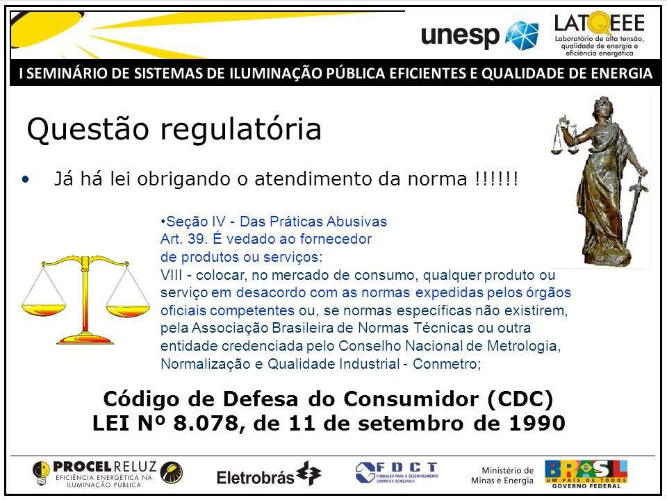 Questão regulatória Já há lei obrigando o atendimento da norma !!!!!!