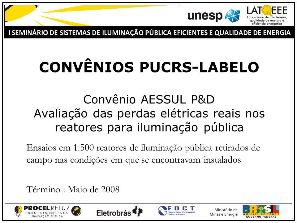 CONVÊNIOS PUCRS-LABELO Convênio AESSUL P&D Avaliação das perdas elétricas reais nos reatores para iluminação pública