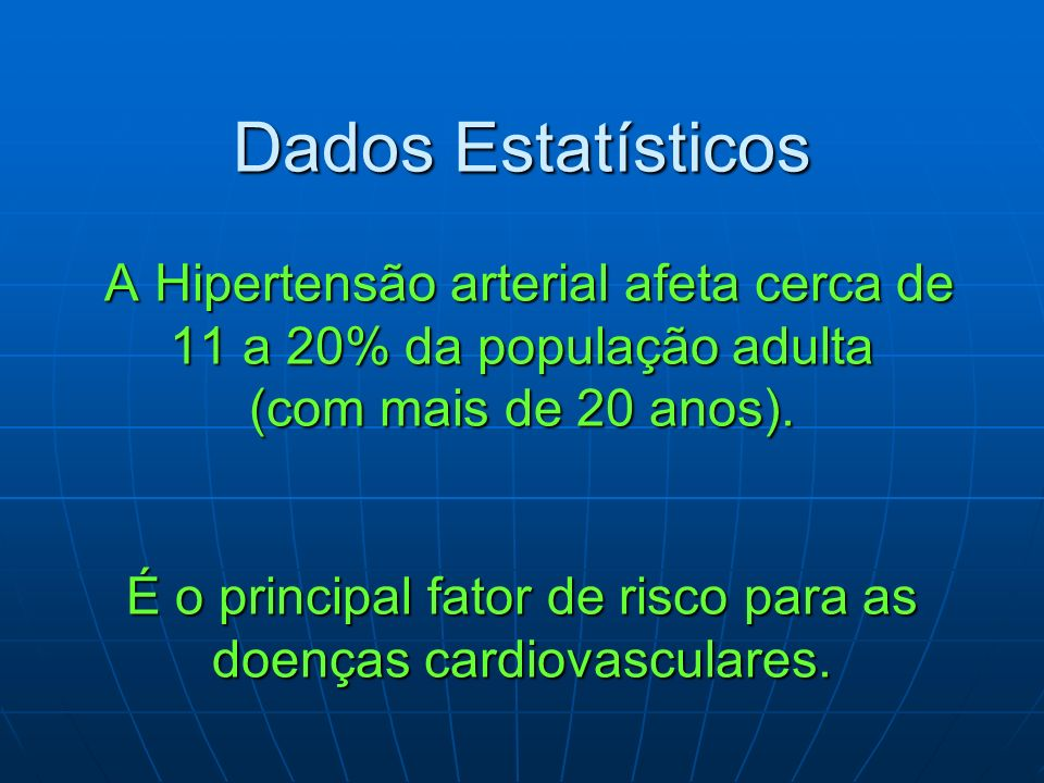 Dados Estatísticos A Hipertensão arterial afeta cerca de 11 a 20% da população adulta (com mais de 20 anos).