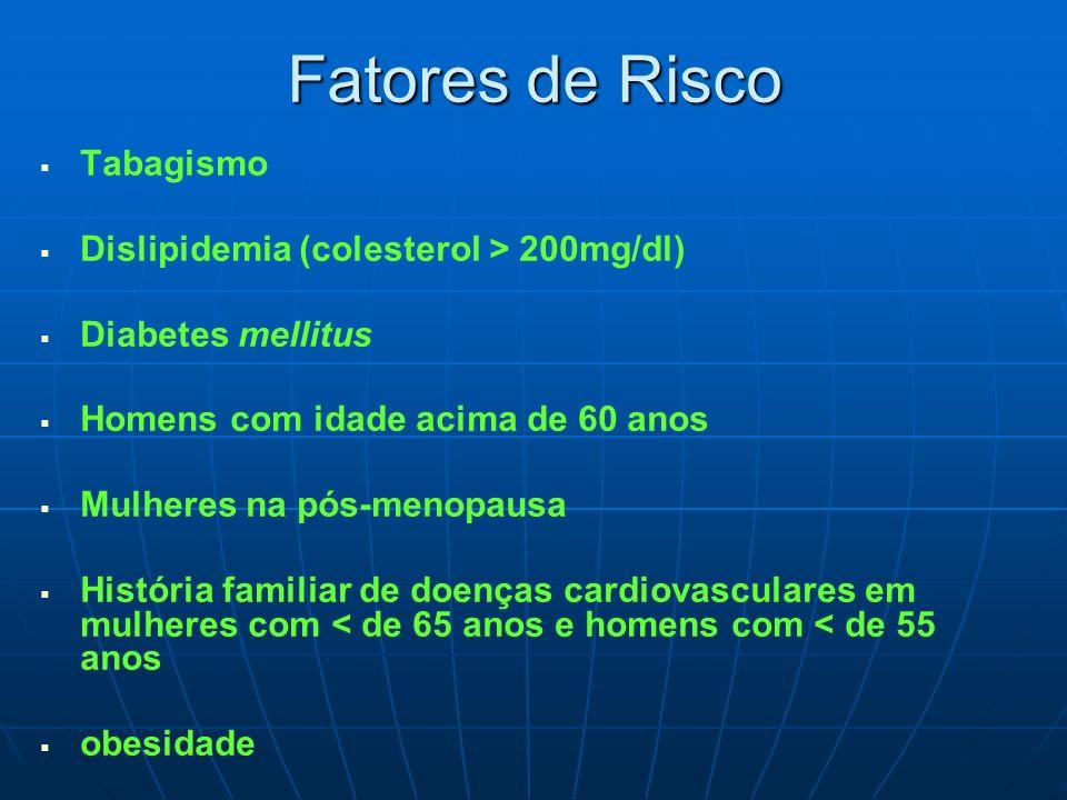 Fatores de Risco Tabagismo Dislipidemia (colesterol > 200mg/dl)