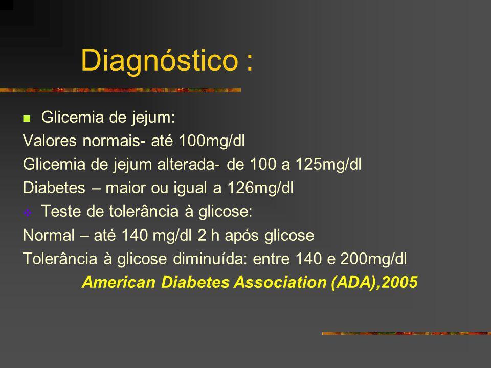 Diagnóstico : Glicemia de jejum: Valores normais- até 100mg/dl