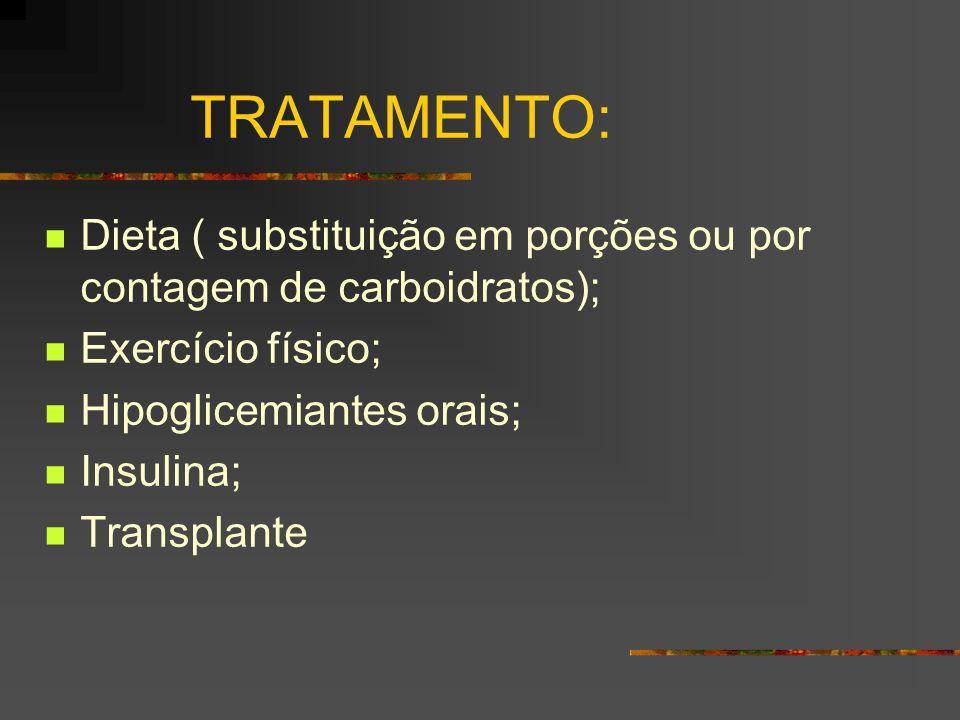 TRATAMENTO: Dieta ( substituição em porções ou por contagem de carboidratos); Exercício físico; Hipoglicemiantes orais;