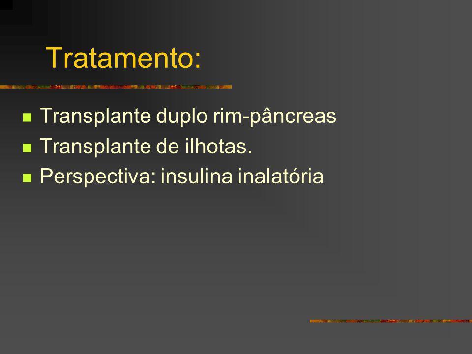 Tratamento: Transplante duplo rim-pâncreas Transplante de ilhotas.