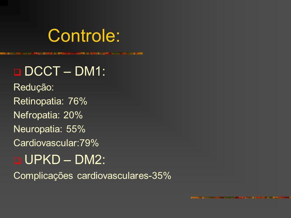 Controle: DCCT – DM1: UPKD – DM2: Redução: Retinopatia: 76%