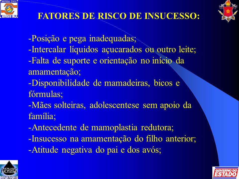 FATORES DE RISCO DE INSUCESSO: