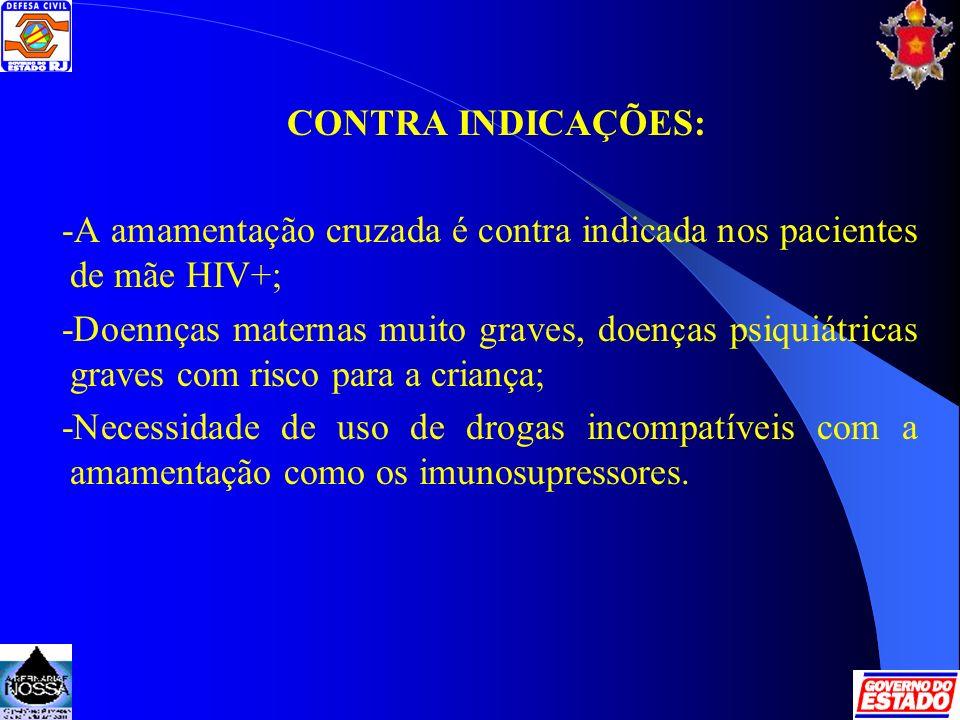 CONTRA INDICAÇÕES: -A amamentação cruzada é contra indicada nos pacientes de mãe HIV+;