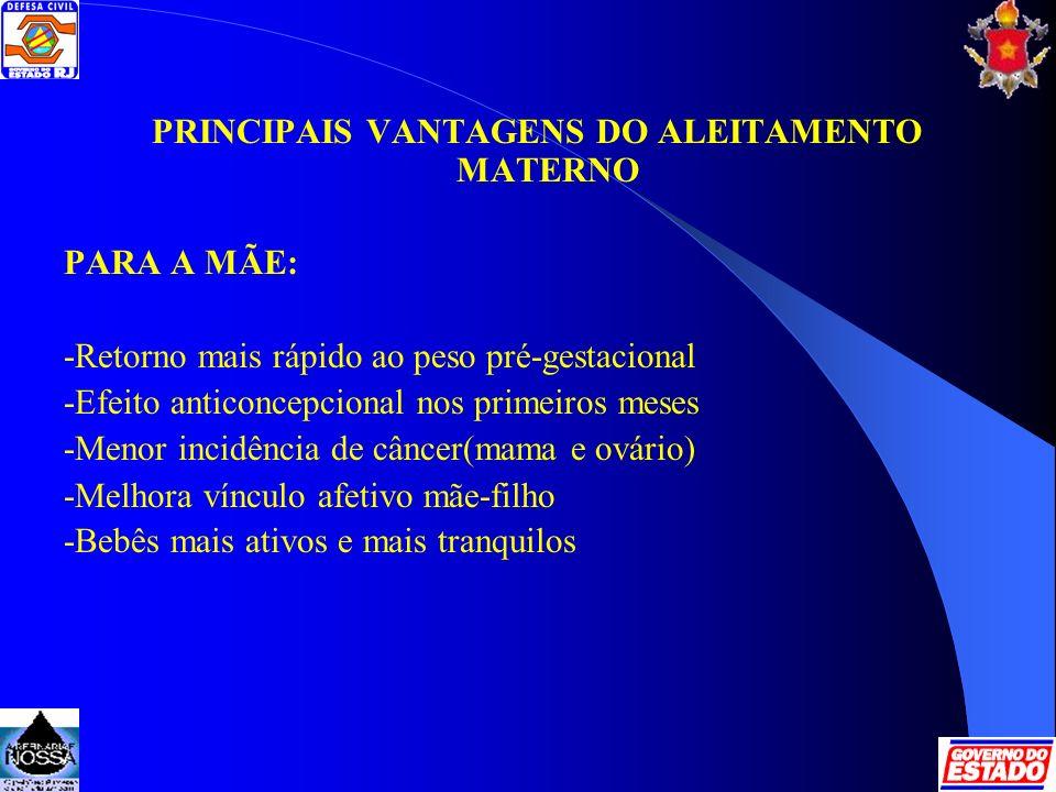 PRINCIPAIS VANTAGENS DO ALEITAMENTO MATERNO