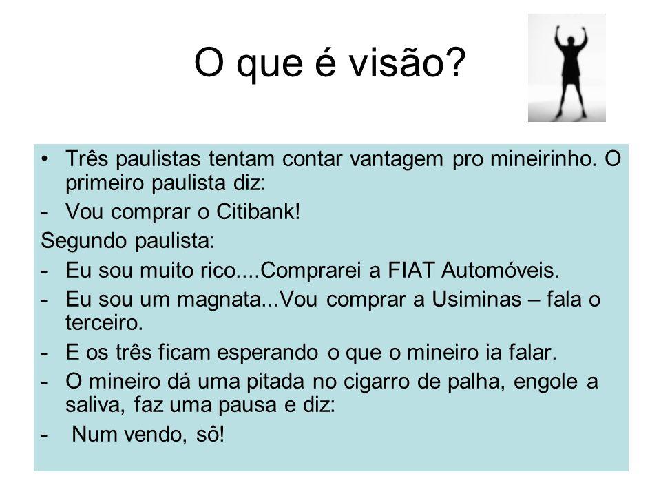 O que é visão Três paulistas tentam contar vantagem pro mineirinho. O primeiro paulista diz: Vou comprar o Citibank!