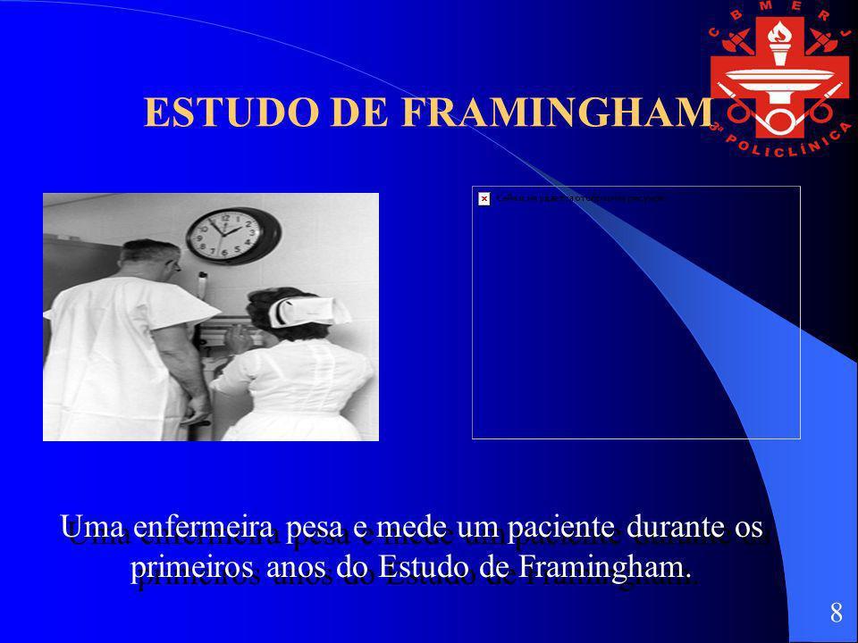 ESTUDO DE FRAMINGHAM Uma enfermeira pesa e mede um paciente durante os primeiros anos do Estudo de Framingham.