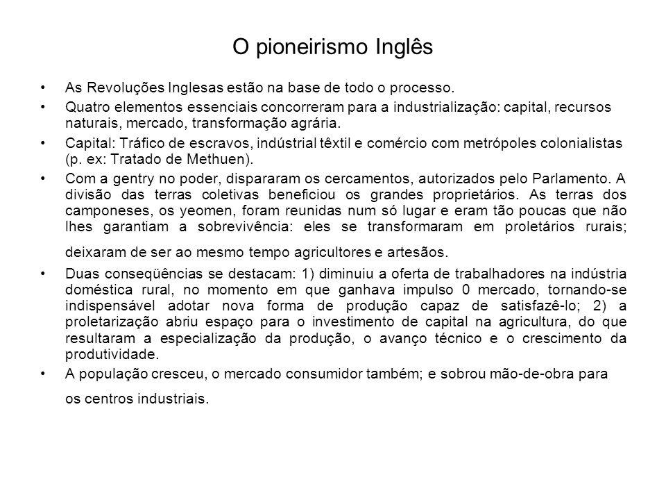 O pioneirismo Inglês As Revoluções Inglesas estão na base de todo o processo.
