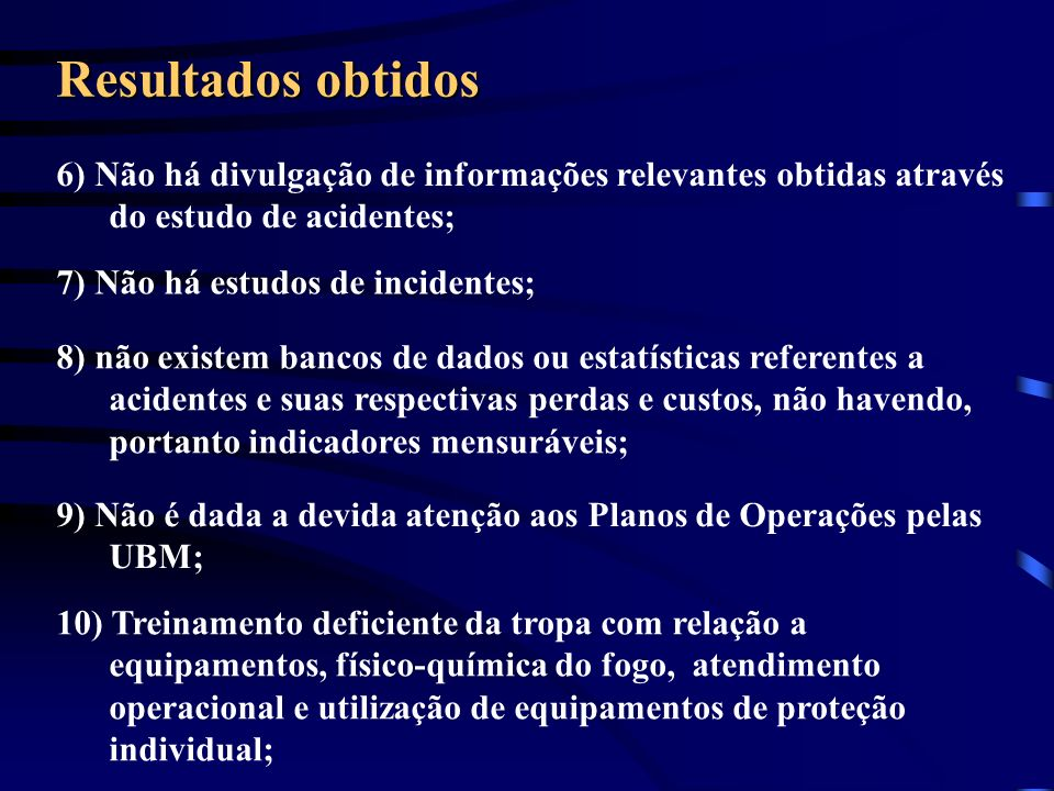 Resultados obtidos 6) Não há divulgação de informações relevantes obtidas através do estudo de acidentes;