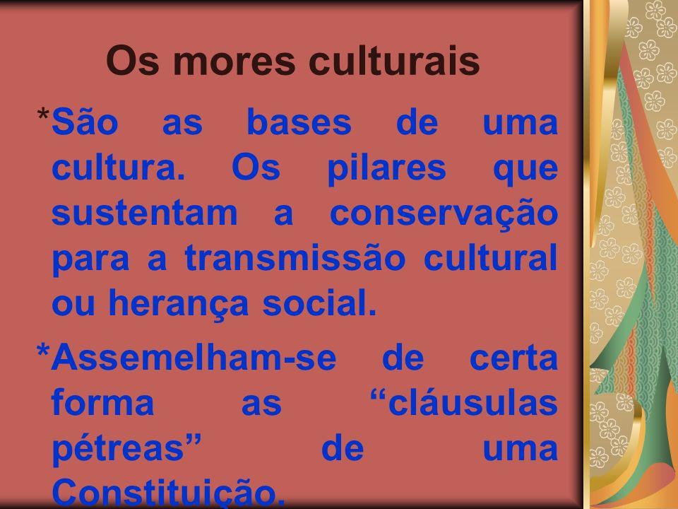 Os mores culturais *São as bases de uma cultura. Os pilares que sustentam a conservação para a transmissão cultural ou herança social.