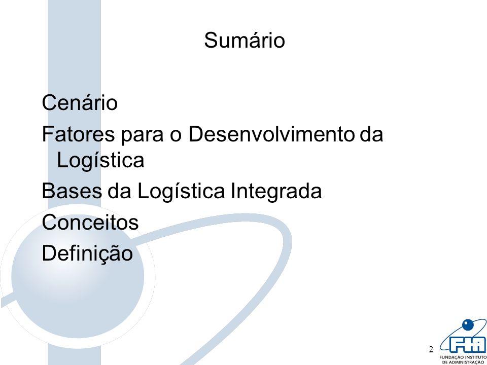 Sumário Cenário. Fatores para o Desenvolvimento da Logística. Bases da Logística Integrada. Conceitos.