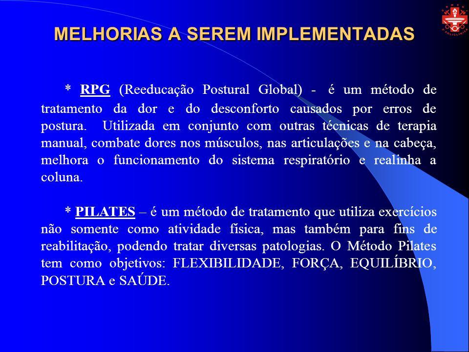 MELHORIAS A SEREM IMPLEMENTADAS