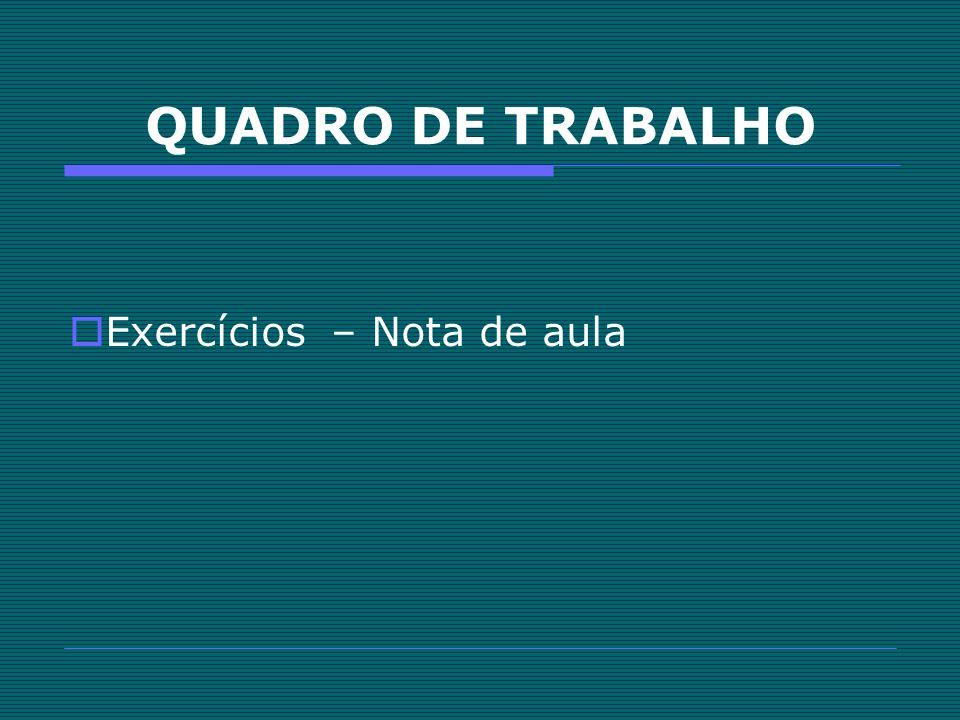 QUADRO DE TRABALHO Exercícios – Nota de aula