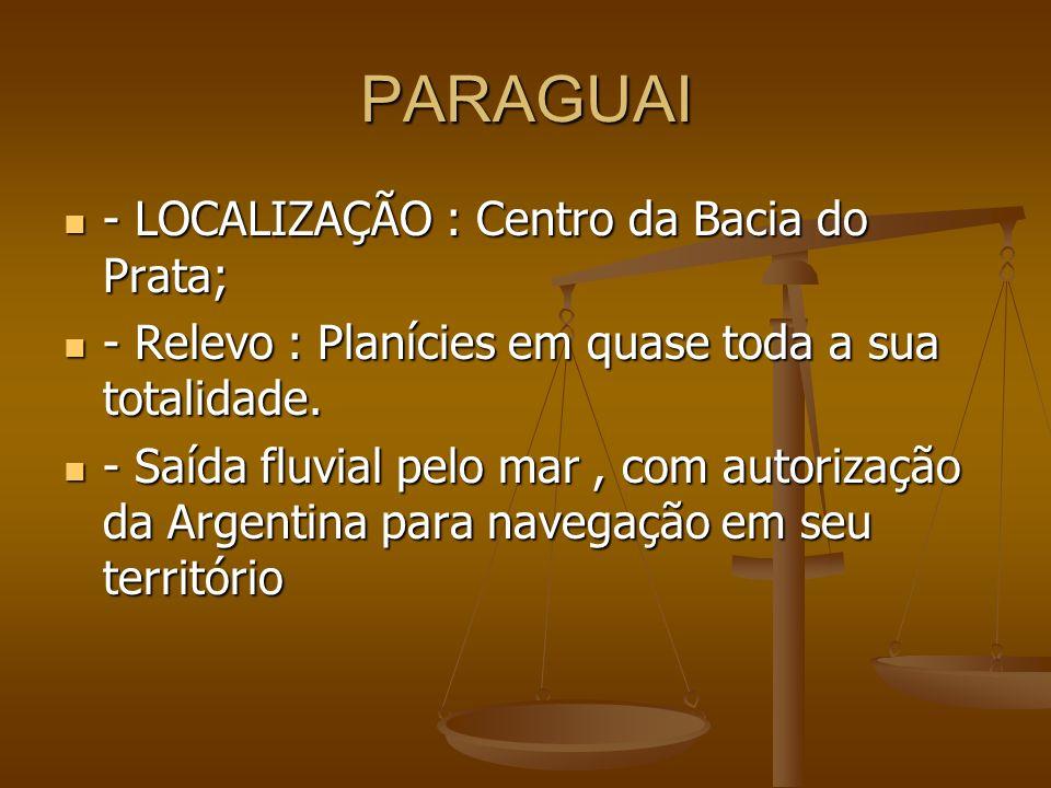 PARAGUAI - LOCALIZAÇÃO : Centro da Bacia do Prata;