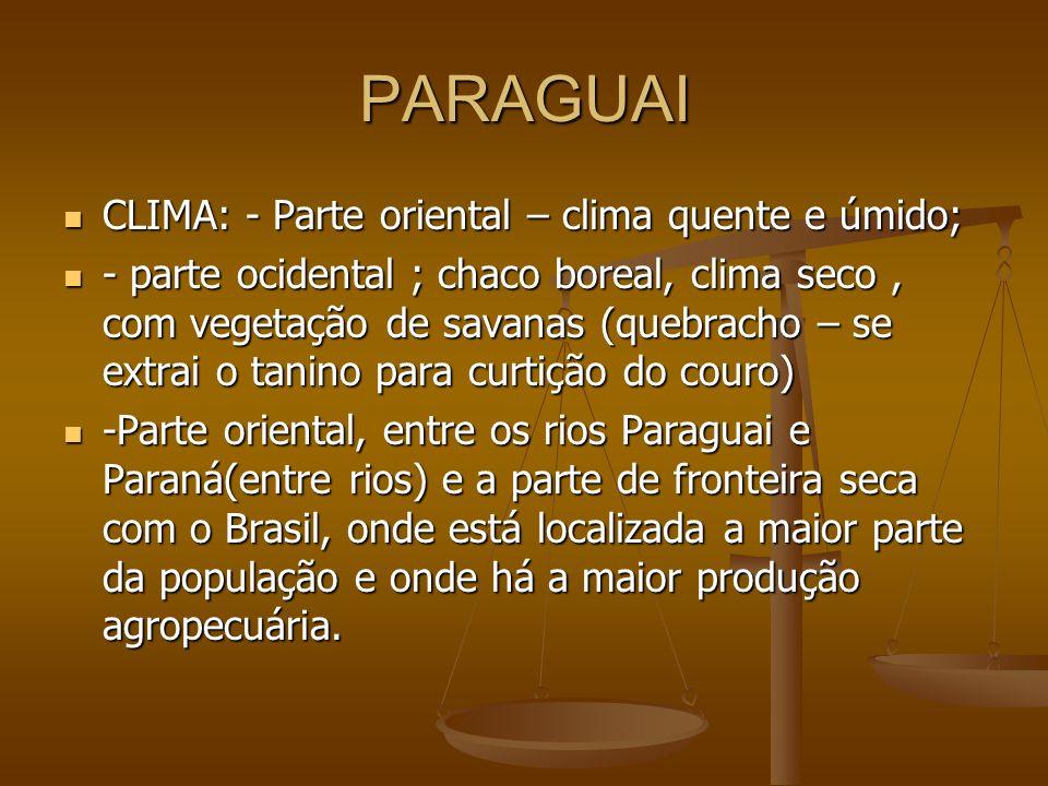 PARAGUAI CLIMA: - Parte oriental – clima quente e úmido;