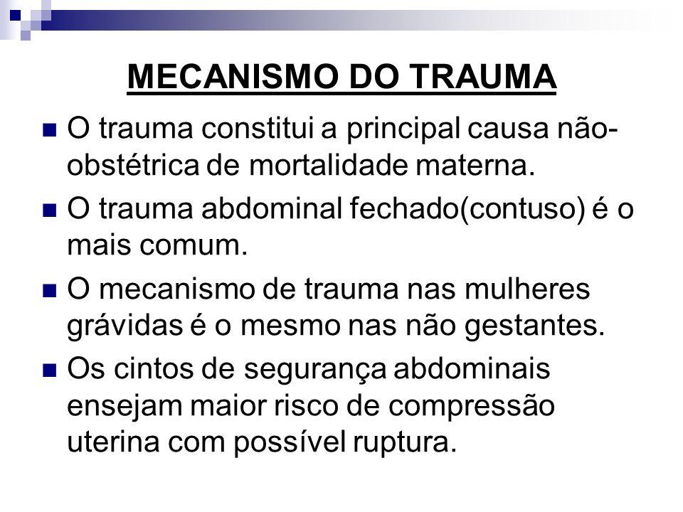 MECANISMO DO TRAUMA O trauma constitui a principal causa não-obstétrica de mortalidade materna. O trauma abdominal fechado(contuso) é o mais comum.