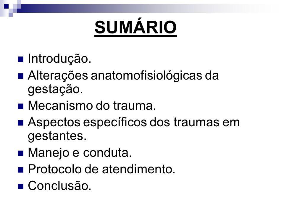 SUMÁRIO Introdução. Alterações anatomofisiológicas da gestação.