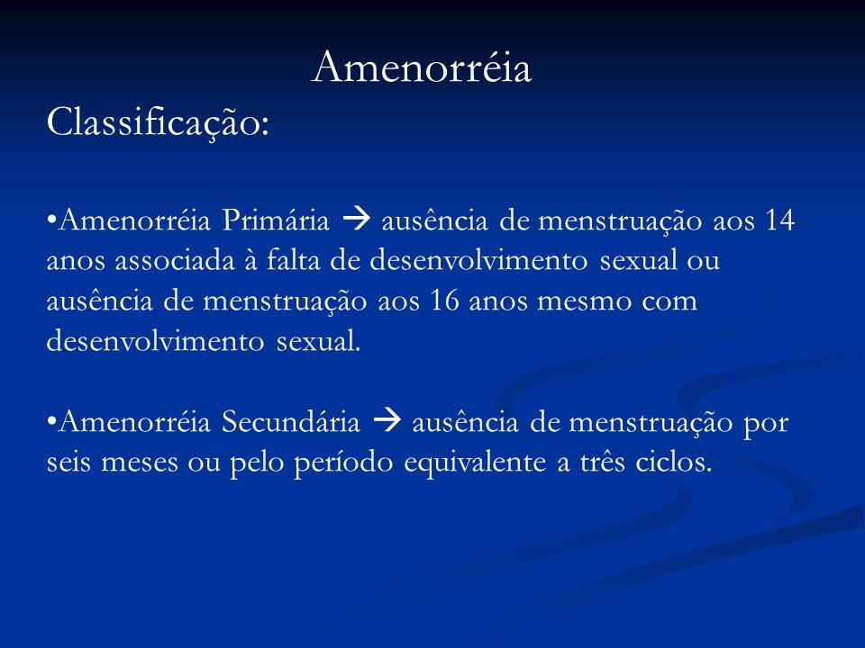 Amenorréia Classificação: