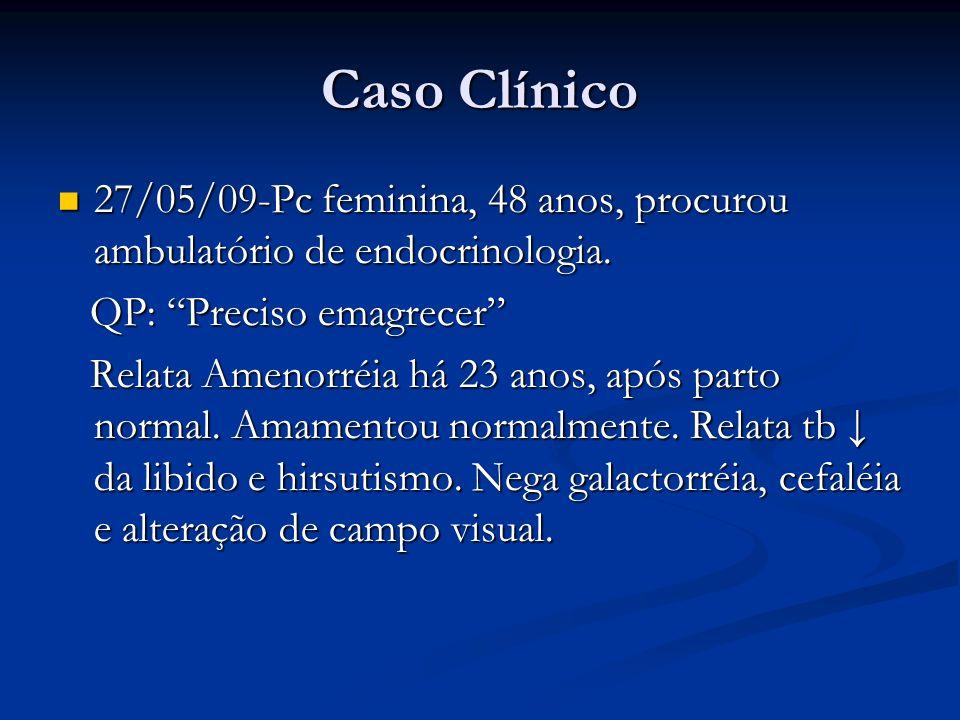 Caso Clínico 27/05/09-Pc feminina, 48 anos, procurou ambulatório de endocrinologia. QP: Preciso emagrecer