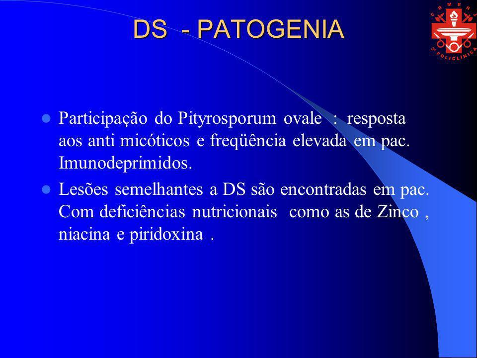 DS - PATOGENIA Participação do Pityrosporum ovale : resposta aos anti micóticos e freqüência elevada em pac. Imunodeprimidos.