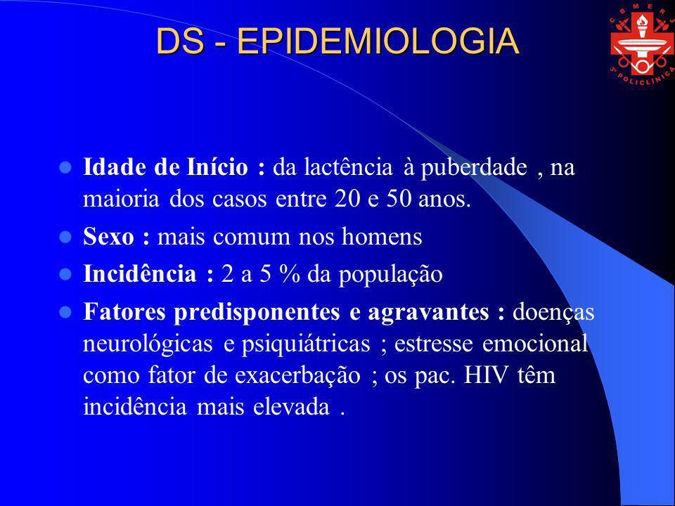DS - EPIDEMIOLOGIA Idade de Início : da lactência à puberdade , na maioria dos casos entre 20 e 50 anos.