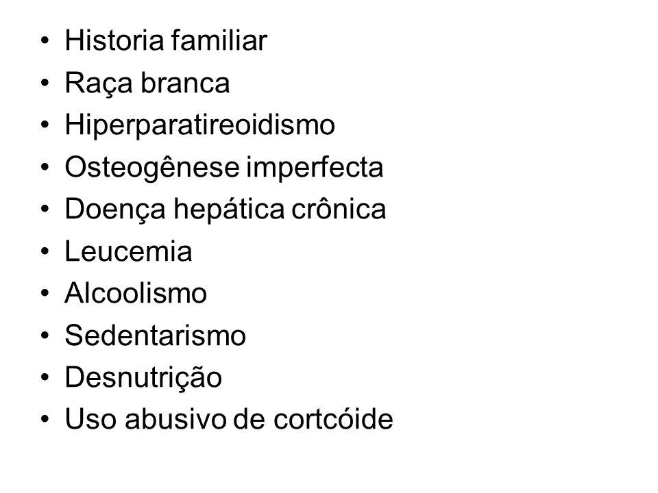 Historia familiarRaça branca. Hiperparatireoidismo. Osteogênese imperfecta. Doença hepática crônica.