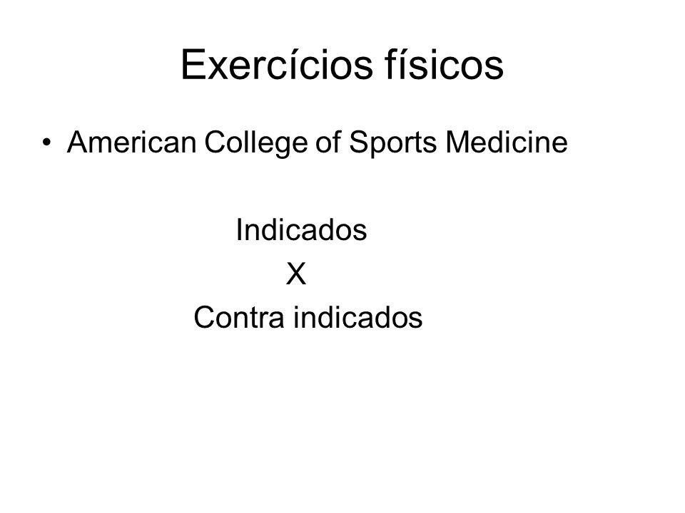 Exercícios físicos American College of Sports Medicine Indicados X