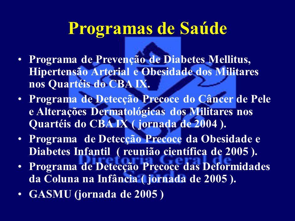 Programas de Saúde Programa de Prevenção de Diabetes Mellitus, Hipertensão Arterial e Obesidade dos Militares nos Quartéis do CBA IX.