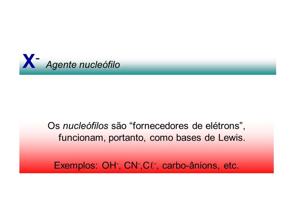 Exemplos: OH-, CN-,Cℓ-, carbo-ânions, etc.